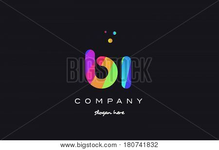 Bi B I  Colored Rainbow Creative Colors Alphabet Letter Logo Icon