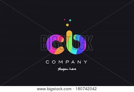 Cb C B  Colored Rainbow Creative Colors Alphabet Letter Logo Icon