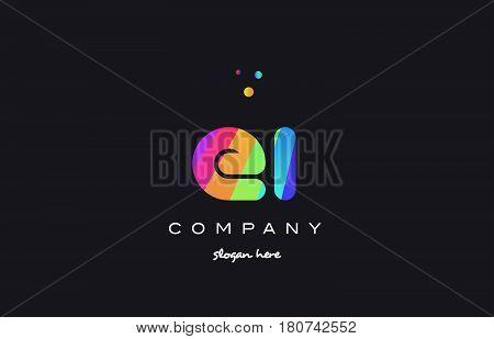 Ei E I  Colored Rainbow Creative Colors Alphabet Letter Logo Icon
