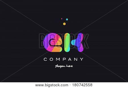 Ek E K  Colored Rainbow Creative Colors Alphabet Letter Logo Icon