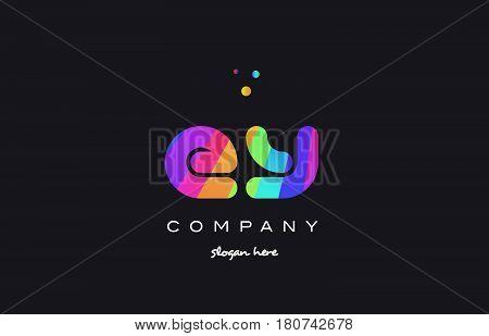 Ey E Y  Colored Rainbow Creative Colors Alphabet Letter Logo Icon