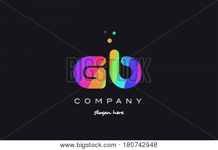 Gb G B  Colored Rainbow Creative Colors Alphabet Letter Logo Icon