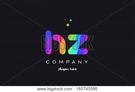 Hz H Z  Colored Rainbow Creative Colors Alphabet Letter Logo Icon
