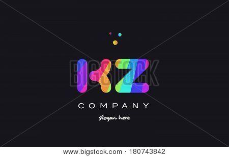 Kz K Z  Colored Rainbow Creative Colors Alphabet Letter Logo Icon
