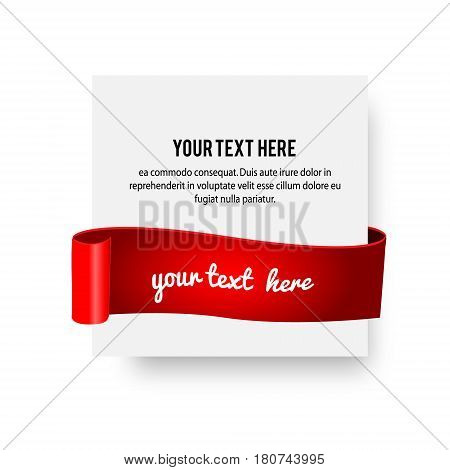 Realistic paper banner with silky ribbon red scroll. Vector illustration with place for your design and text. Design template for advertisement greetings presentation
