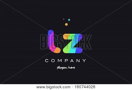 Lz L Z  Colored Rainbow Creative Colors Alphabet Letter Logo Icon