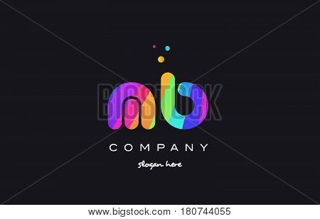 Mb M B  Colored Rainbow Creative Colors Alphabet Letter Logo Icon