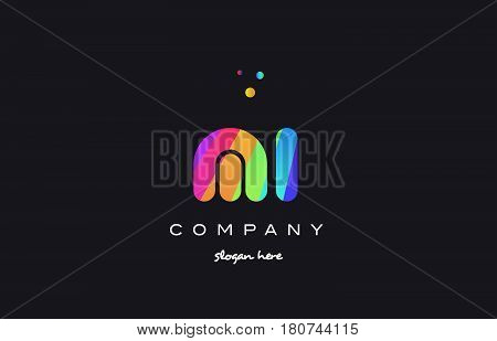 Mi M I  Colored Rainbow Creative Colors Alphabet Letter Logo Icon