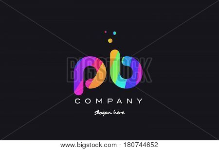 Pb P B  Colored Rainbow Creative Colors Alphabet Letter Logo Icon