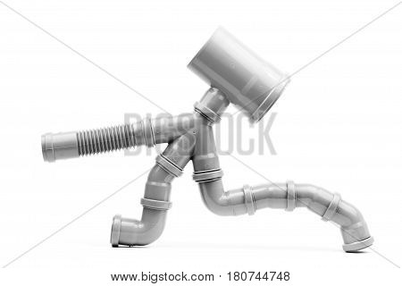 Grey drain pipe art object isolated on a white