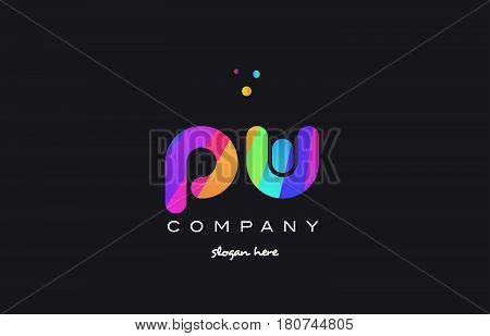 Pw P W  Colored Rainbow Creative Colors Alphabet Letter Logo Icon
