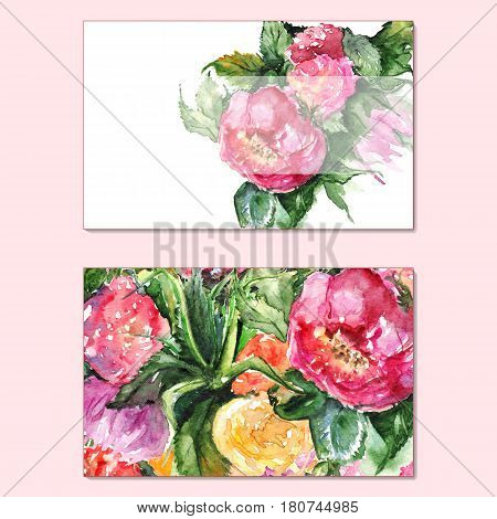 Watercolor floral peony business visiting visit card template