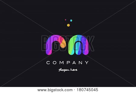 Rm R M  Colored Rainbow Creative Colors Alphabet Letter Logo Icon
