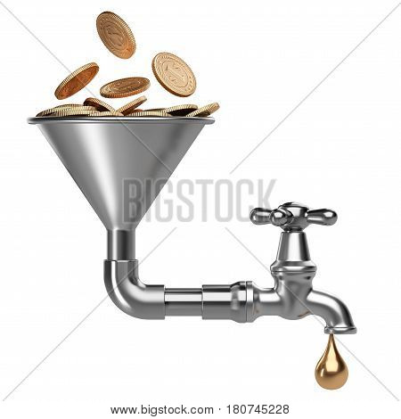 Steel funnel with golden pile coins and faucet and drop. Business investment - concept. 3D illustration isolated on white background.