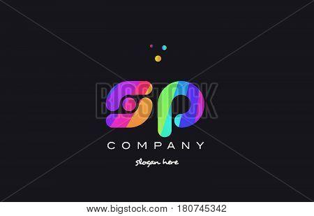 Sp S P  Colored Rainbow Creative Colors Alphabet Letter Logo Icon