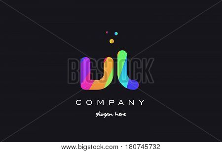 Vl V L  Colored Rainbow Creative Colors Alphabet Letter Logo Icon