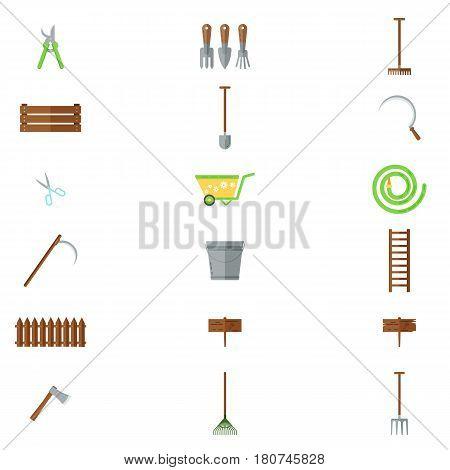 Set of various gardening items. Garden tools. Flat design illustration of items for gardening. Vector illustration.