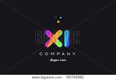 Xi X I  Colored Rainbow Creative Colors Alphabet Letter Logo Icon