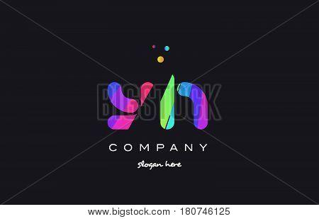 Yi Y I  Colored Rainbow Creative Colors Alphabet Letter Logo Icon