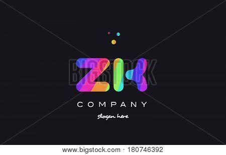 Zk Z K  Colored Rainbow Creative Colors Alphabet Letter Logo Icon