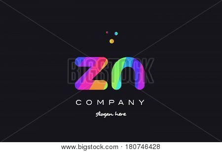 Zn Z N  Colored Rainbow Creative Colors Alphabet Letter Logo Icon