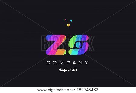 Zs Z S  Colored Rainbow Creative Colors Alphabet Letter Logo Icon