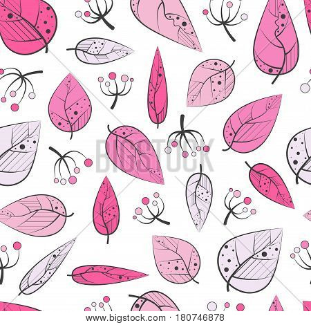 Bright seamless pattern with foliage and berries.