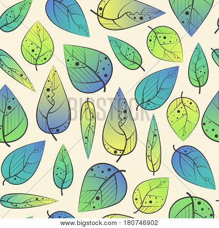 Bright seamless pattern with foliage. Smooth seam.