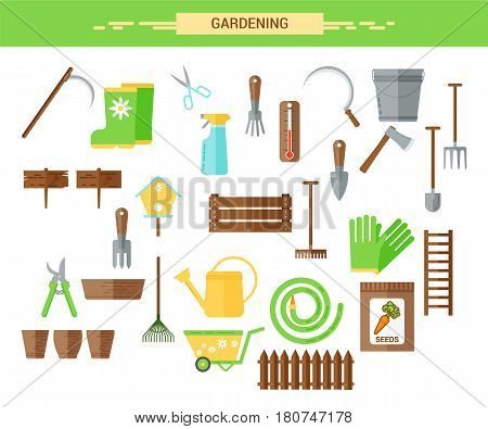 Gardening work tools flat icons set. Equipment for working in garden, gloves, secateurs, seeds, pruners, shovel, watering can. Flat vector illustration. Set of icons