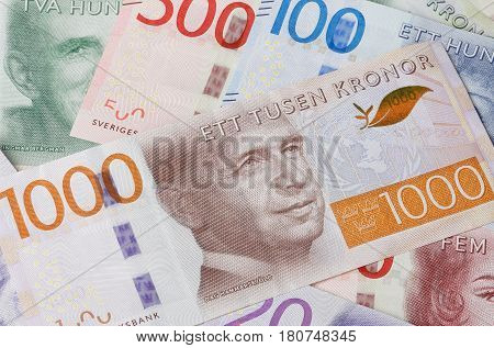 Stockholm Sweden - March 22 2017: A group of Swedish currency banknotes in different denominations.
