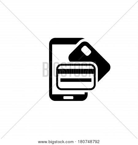 Mobile Banking Icon. Flat Design. Mobile Devices and Services Concept. Isolated Illustration.