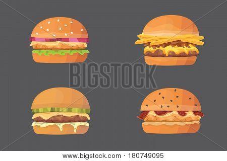 Burger cartoon fast food set cheeseburger and hamburger