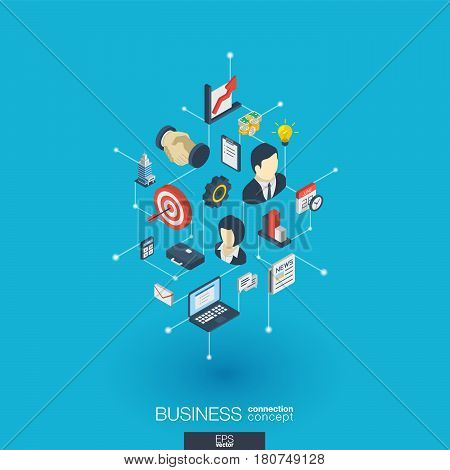 Business integrated 3d web icons. Digital network isometric interact concept. Connected graphic design dot and line system. Abstract background for market mission and strategy plan. Vector Infograph
