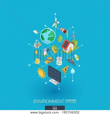Environmental integrated 3d web icons. Digital network isometric interact concept. Connected graphic design dot and line system. Abstract background for ecology, recycle and energy. Vector Infograph