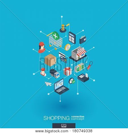 Shopping integrated 3d web icons. Digital network isometric interact concept. Connected graphic design dot and line system. Abstract background for ecommerce, market and online sales. Vector Infograph