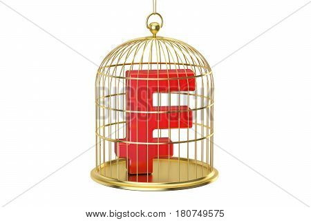 Birdcage with frank currency symbol inside 3D rendering isolated on white background