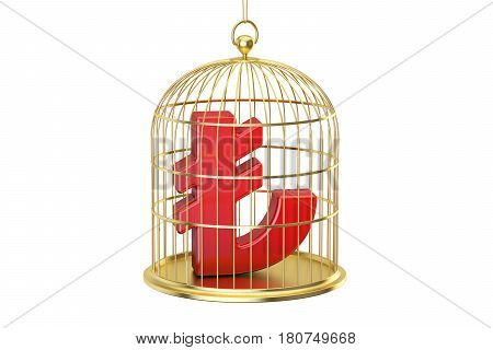 Birdcage with lira currency symbol inside 3D rendering isolated on white background