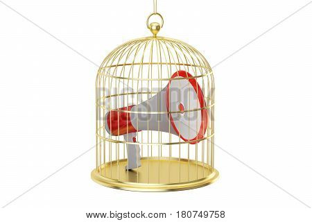 Birdcage with megaphone inside 3D rendering isolated on white background