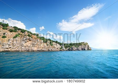 Mountains and blue bay in the Black sea