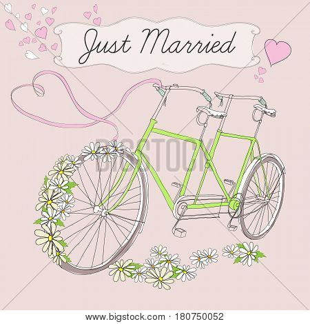 Vintage drawing marriage poster with tandem bicycle for just married couple chamomiles pink ribbon and hearts vector illustration