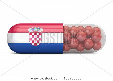 Pill capsule with Croatia flag. Croatian health care concept 3D rendering