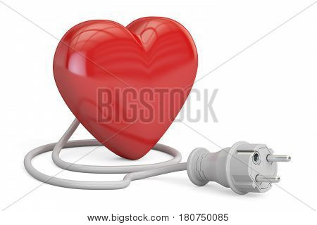 Red heart with electrical plug 3D rendering isolated on white background