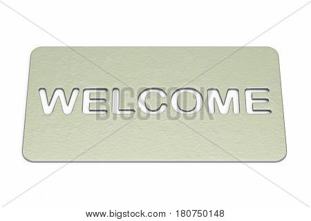 Welcome silver doormat. 3D rendering isolated on white background