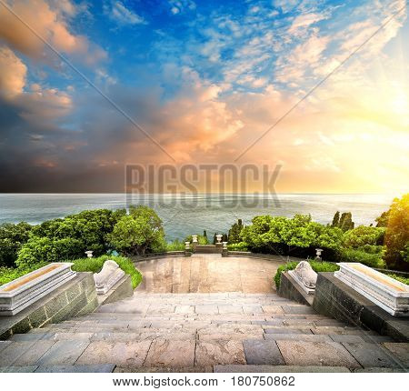 Stairs in Vorontsov park on a background of the sea and sky