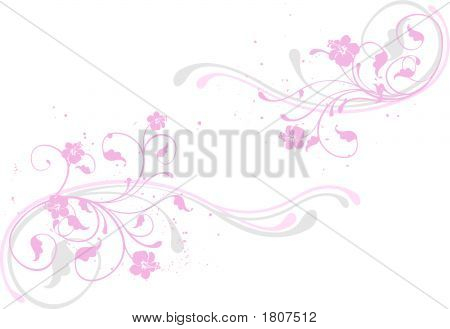 Stock illustration: pink design floral element / background poster