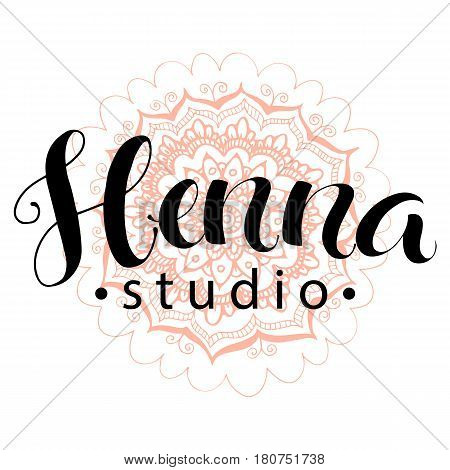 Illustration mehndi studio logo and decorative lotuse, modern hand drawn lettering