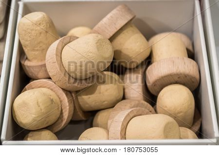 Close up many wine corks in a box for sale