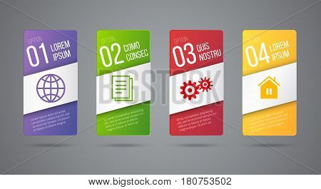Business infographics cards or labels icon with place for text. Timeline or process design with 4 steps. Vector graphics set