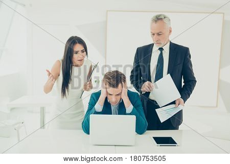 Angry Frustrated Boss Screaming At His Worker For Bad Plan. Angry Tired Businessman In Formal Wear R