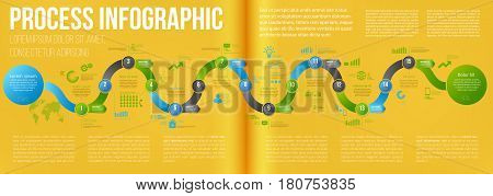 Yellow colored double page a4 spread template business concept timeline arrows. Infographics layout with 15 steps, workflow history with diagram, presentation and graph
